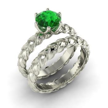 Round Emerald  Bridal Set Ring in 14k White Gold