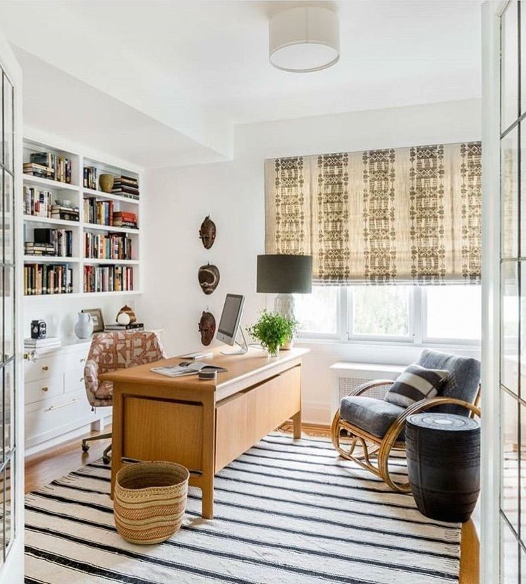 Peter Dunham / Office Design / Round Linen Flush Mount Light / Simple  Stripe Rug In Office / Patterned Fabric Roman Shades / Office Built Ins