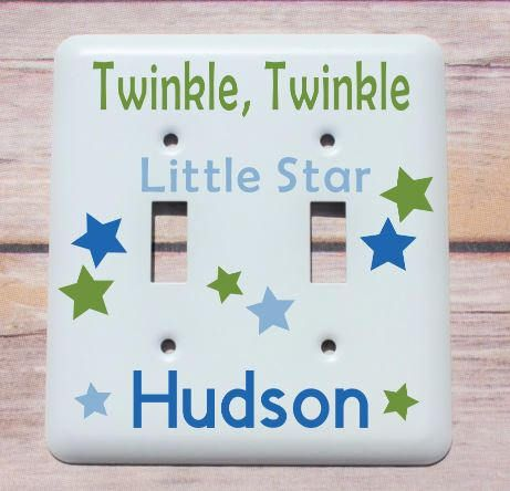 Personalized twinkle twinkle little star nursery decor custom baby personalized baby gift personalized nursery wall decor light switch cover custom switch plate negle Gallery