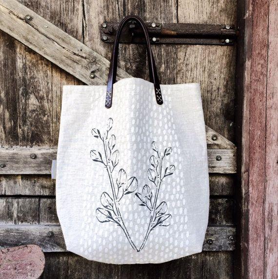Linen tote bag - handprinted - wildflower