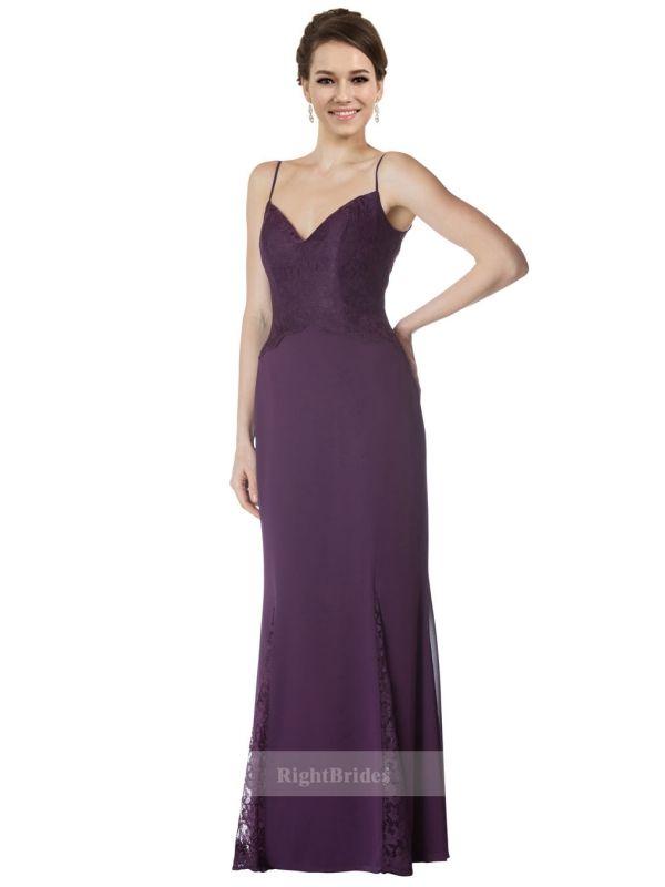 Shop Cheap Mermaid 2018 Long Chiffon Sequin Lace Purple Bridesmaid ...