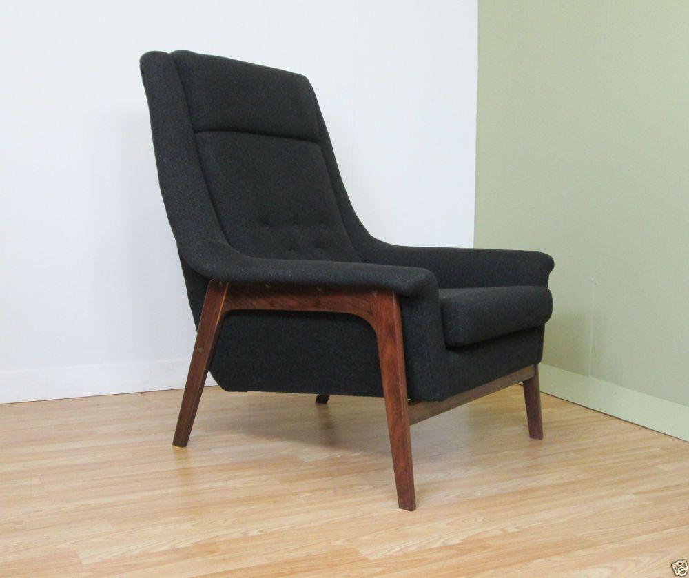 Mid Century teak framed armchair charcoal/black upholstery 50s 60s ...