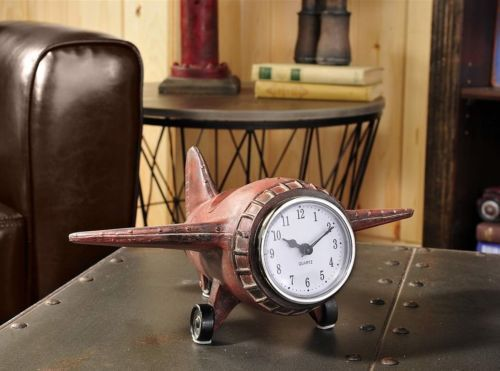 Rustic Red Vintage Inspired Airplane Desk Clock Aviation Plane Home Office Decor