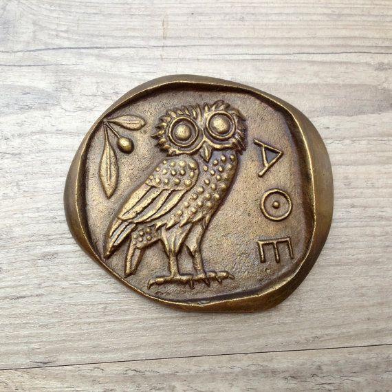 Bronze Paperweight Greek Owl Goddess Athena Symbol Museum