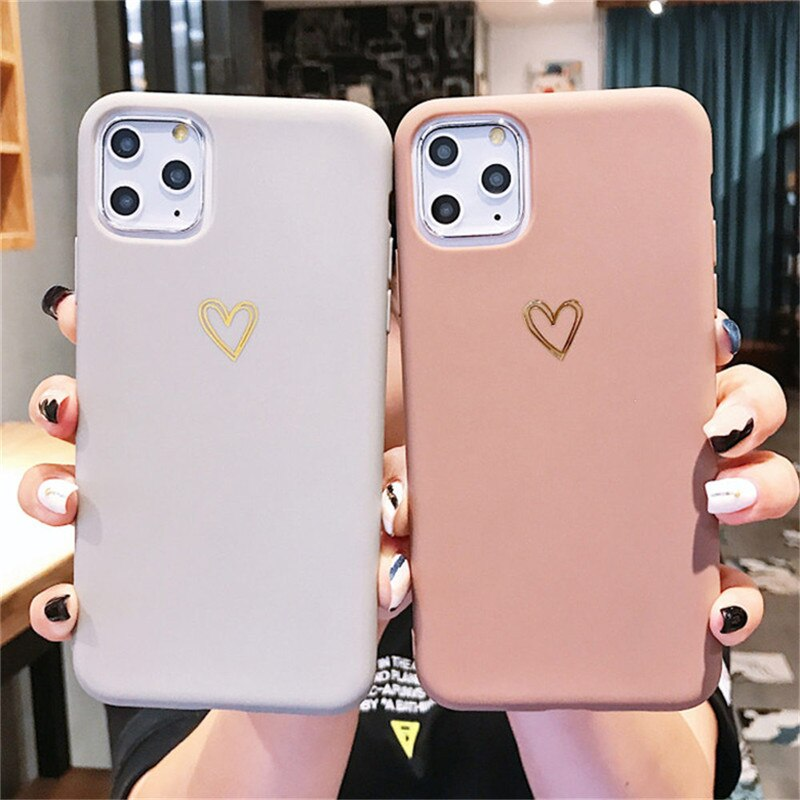 Gold Line Love Heart Case For Iphone 6 6s 7 8 Plus 11 Pro X Xr Xs Max Simple Candy Color Phone Cases Soft Tpu Back Cover Fitted Cases Silicone Phone Case Iphone Iphone Cases