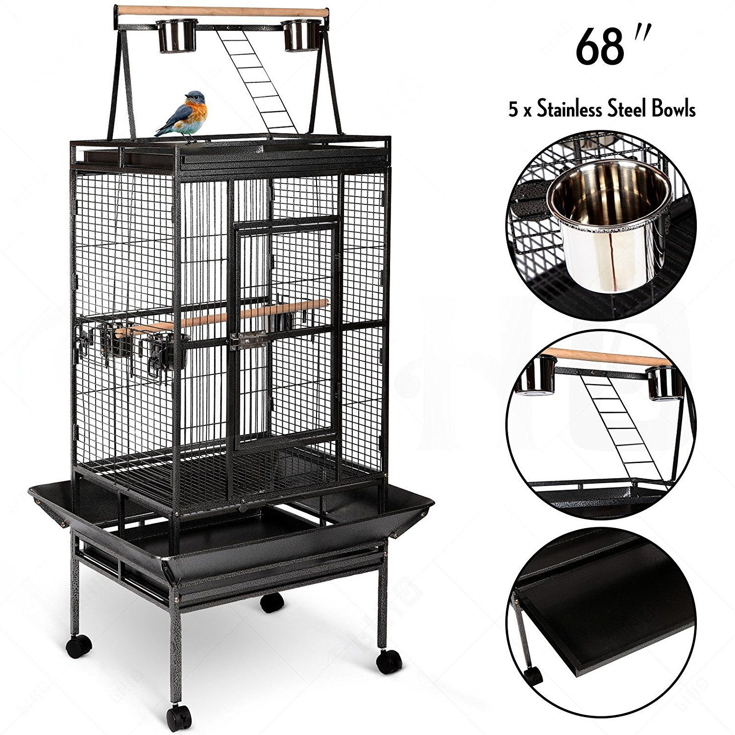 Large Play Top Bird Cage Parrot Cages With Play Top Pet Supplies Birdcages Parrot Finch Macaw Cockatoo Play Stand W Roller Ca Parrot Cage Finch Cage Pet Cage