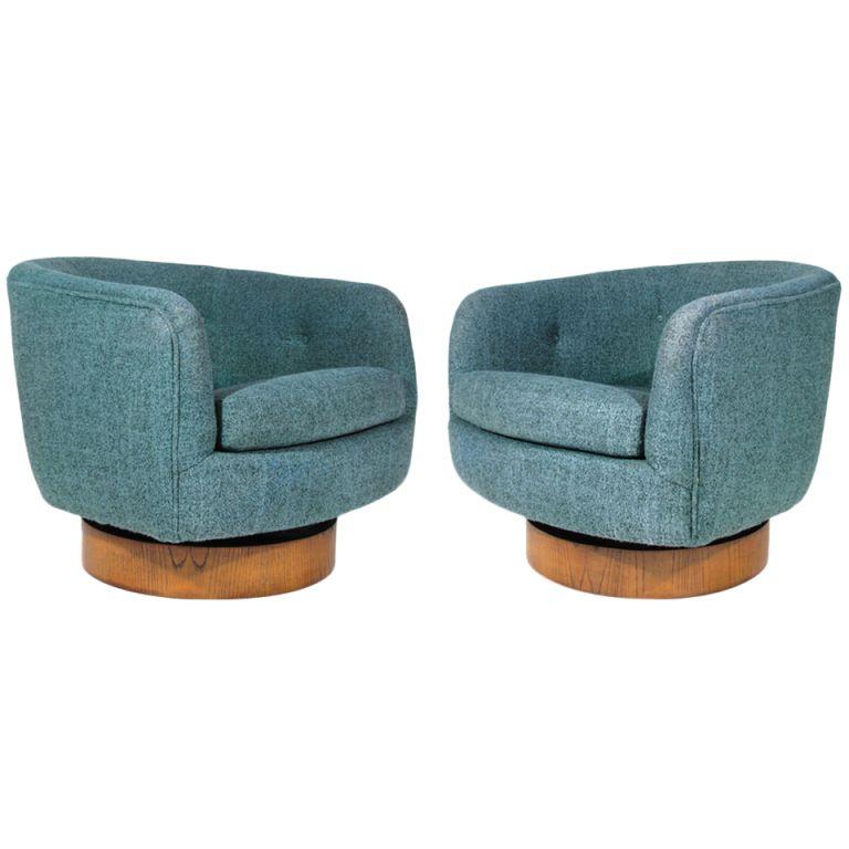 Marvelous Pair Milo Baughman Swivel Tub Chairs