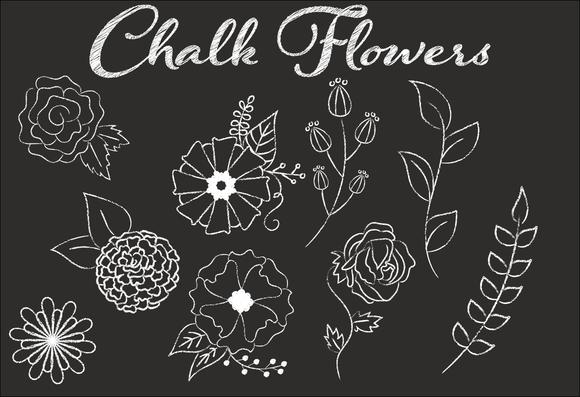 Clip Art Chalk Flower Illustrations Flower Art Drawing Flower Illustration Flower Doodles
