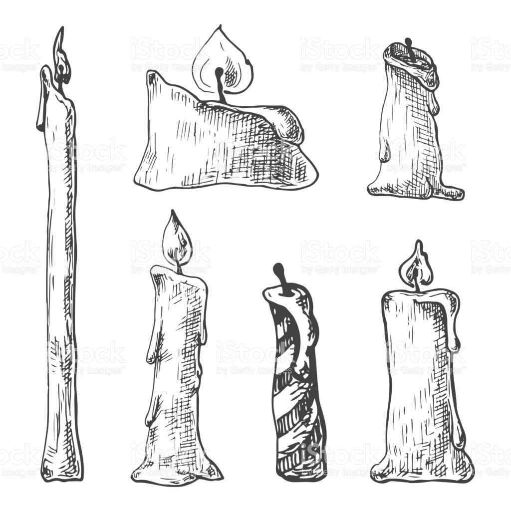 Hand drawn set of burning candles vector illustration of a sketch