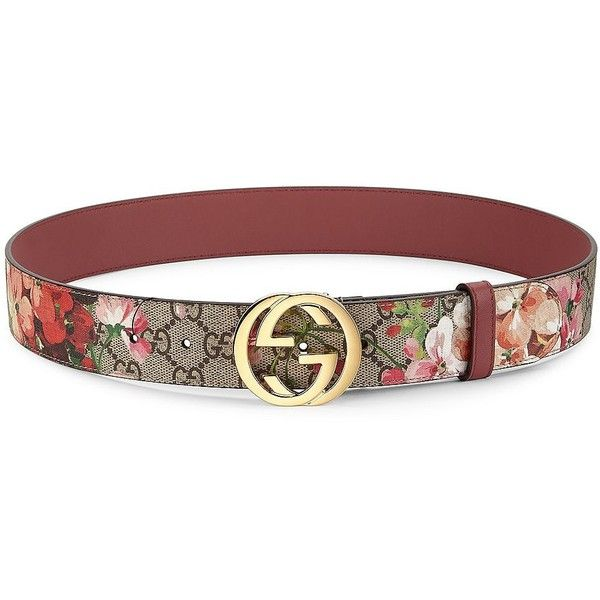 63c59782360 Gucci Floral Logo Print Belt ( 400) ❤ liked on Polyvore featuring  accessories