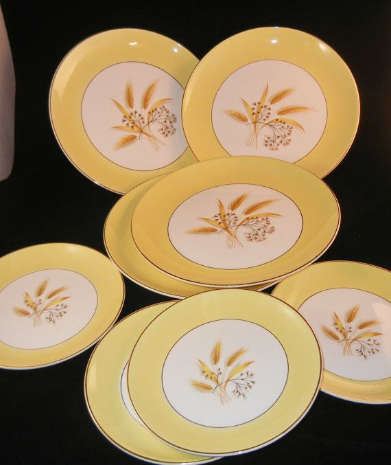 Vintage Century Service Corporation Autumn Wheat Alliance Ohio Semi Vitreous 8 piece set Golden Wheat Gold & Vintage Century Service Corporation Autumn Wheat Alliance Ohio Semi ...