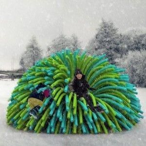 Shelters Resembling Giant Pompoms By Raw Design Warm Skaters On A Frozen River By Batjas88 Warm Design Playground Design Exhibition Design