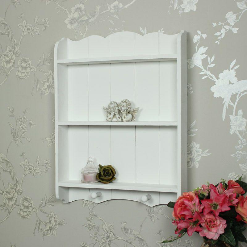 White wooden shelf unit with hooks shabby vintage chic kitchen ...