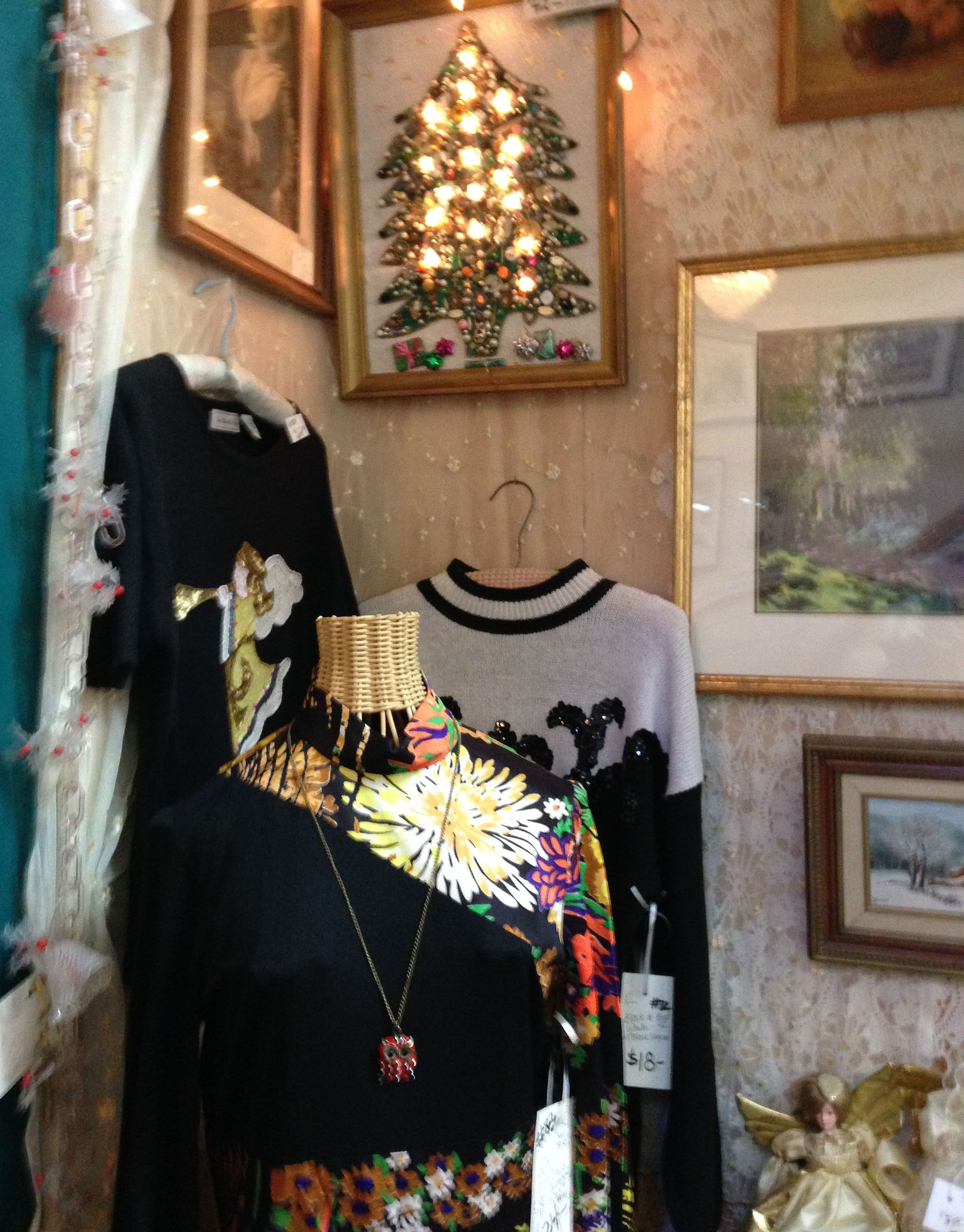 Small corner with long 60's Dress Asymmetrical design  Mission Galleria Riverside Calif 12-2014