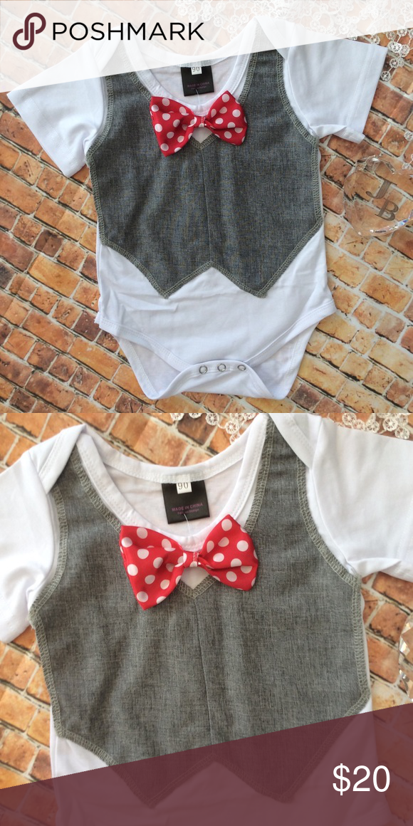 d4de156b9 Boutique Baby Boy Vest   Bow Tie Onesie Boutique