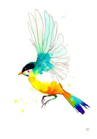 Oiseau Aquarelle Art A Theme Oiseau Oiseau En Aquarelle Dessin