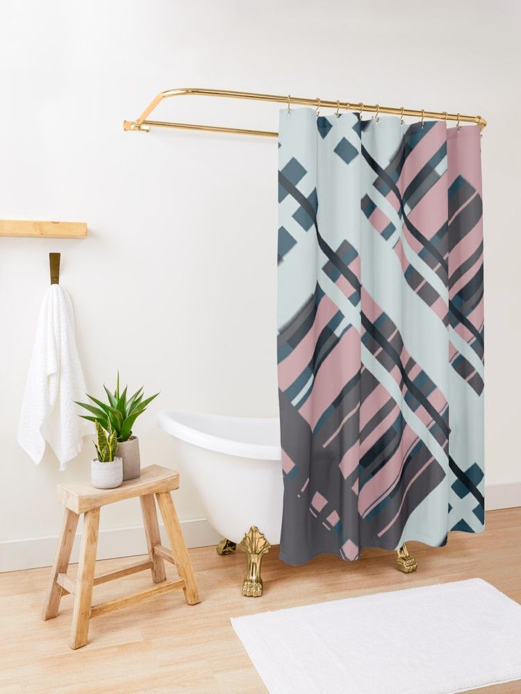 Rose And Blue Graphic Geometrical Shower Curtain By Blertadk Patterned Shower Curtain Tan Shower Curtain Blue Shower Curtains