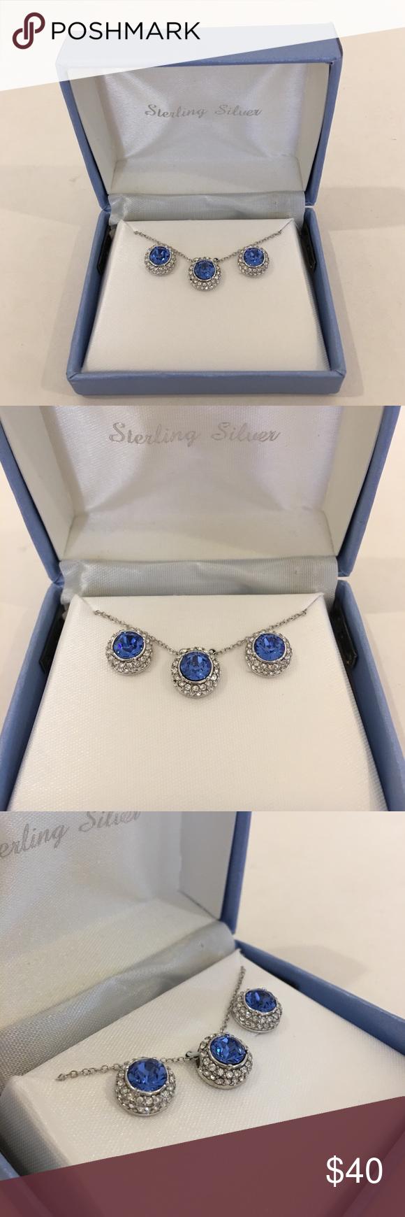 sterling silver sapphire blue set sapphire earrings blue