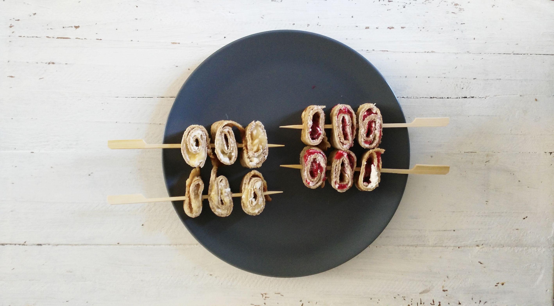 Kids: Pannenkoek rolletjes met mascarpone en fruit
