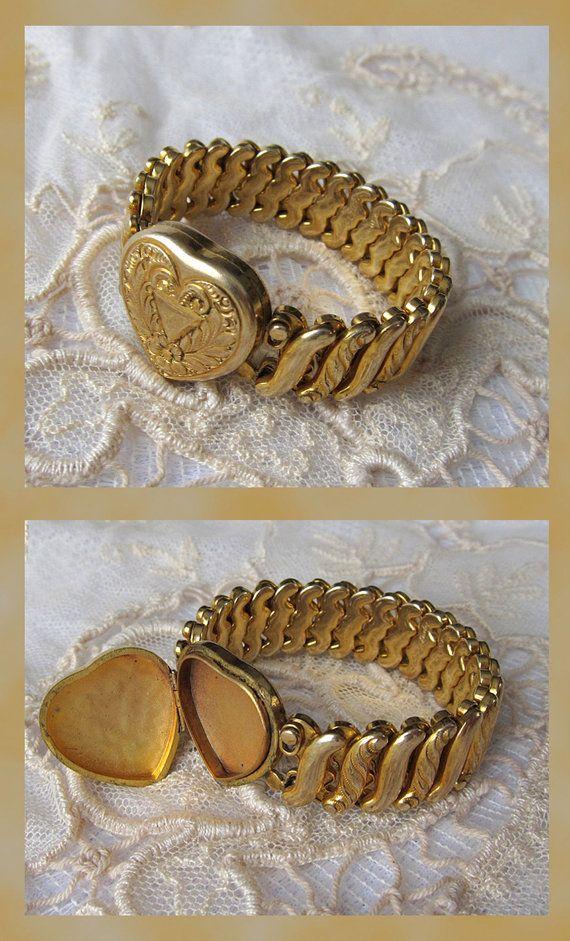 Antique Victorian Art Deco Lady, Man Handmade Dold Plated Bracelet Hand
