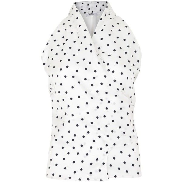 Max Mara Eolo white and navy polka dot wrap top found on Polyvore