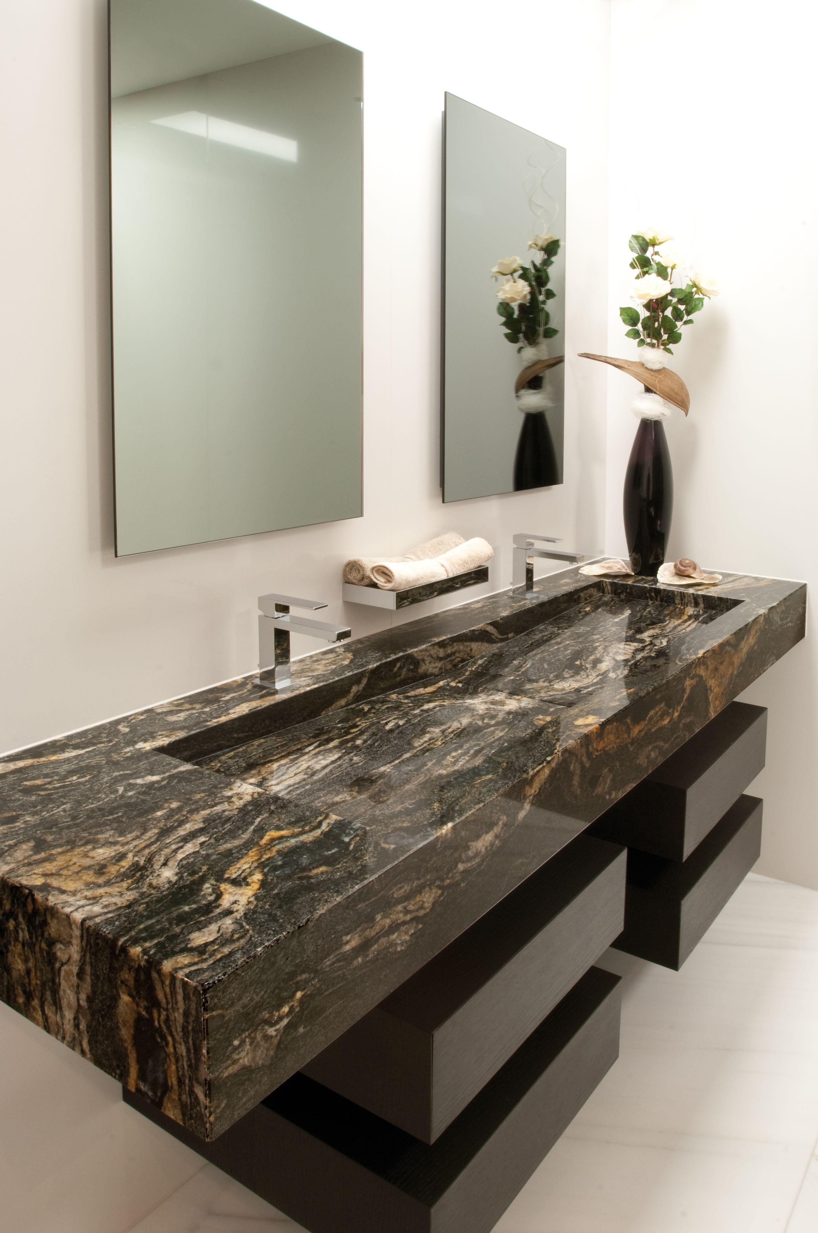 Black Cosmic Dramatic Floating Vanity Installation Bathroom