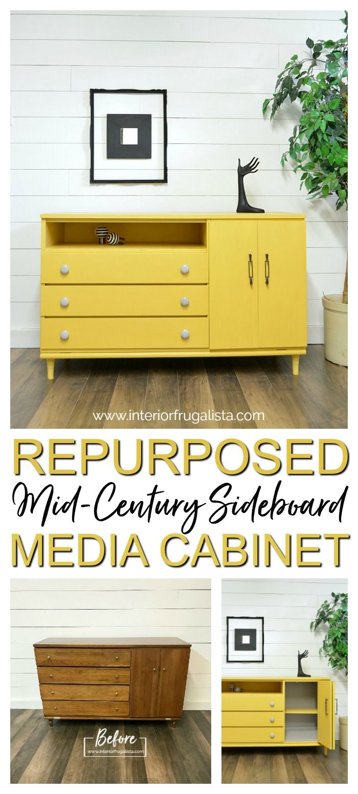How to turn a small thrift store mid-century modern sideboard into a repurposed media cabinet with doors  that is perfect for compact spaces. #interiorfrugalista