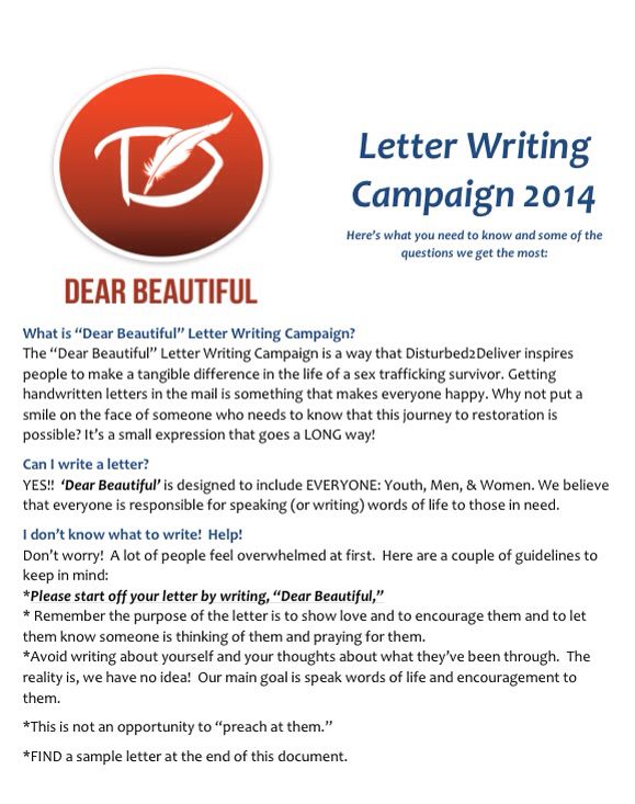 Dear Beautiful Letter Writing Campaign Write A Letter Of Hope