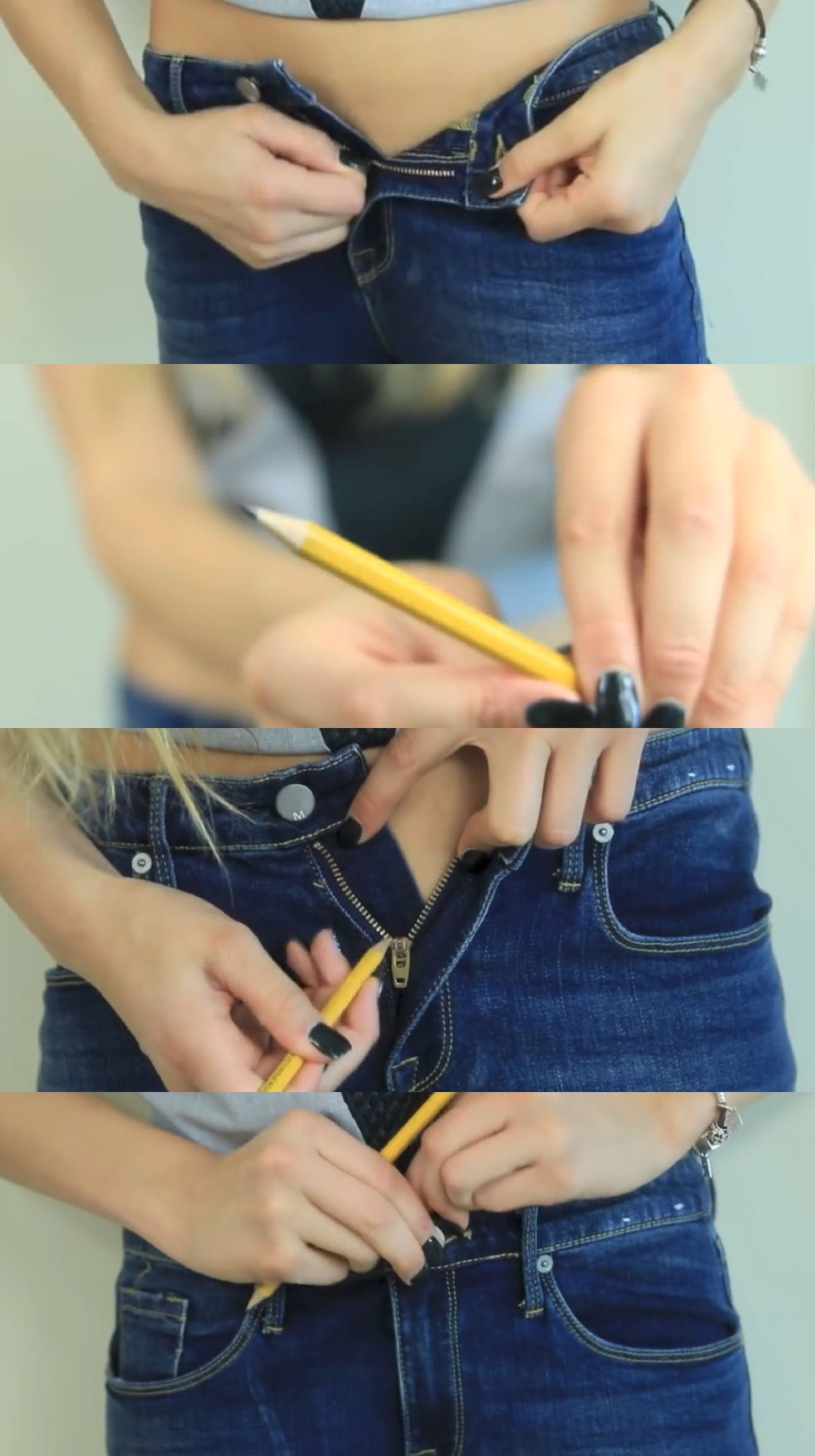 Weird Clothing Life Hacks: Zipper-1) Take the pair of jeans, or anything that won't zip up. 2) Get a regular graphite pencil. 3) Rub it against the zippers. 4) Your done! (rclbeauty101)
