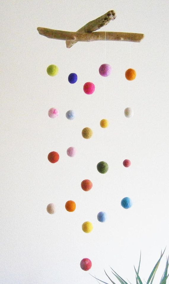 Felt Ball Mobile with Driftwood -- Colorful Poms Baby Mobile