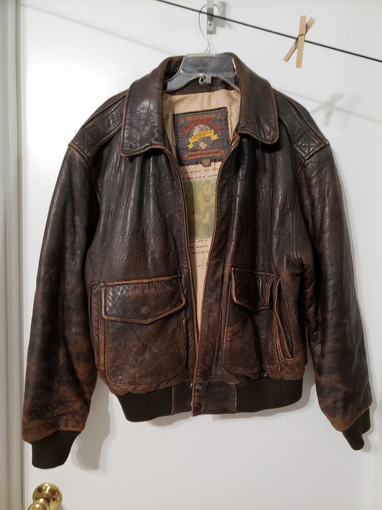 dc983e22435 Vintage distressed WILSON LEATHER Adventure Bound aviator bomber brown  jacket M  Wilson  FlightBomber