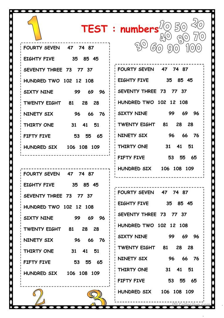 NUMBERS English ESL Worksheets for distance learning and