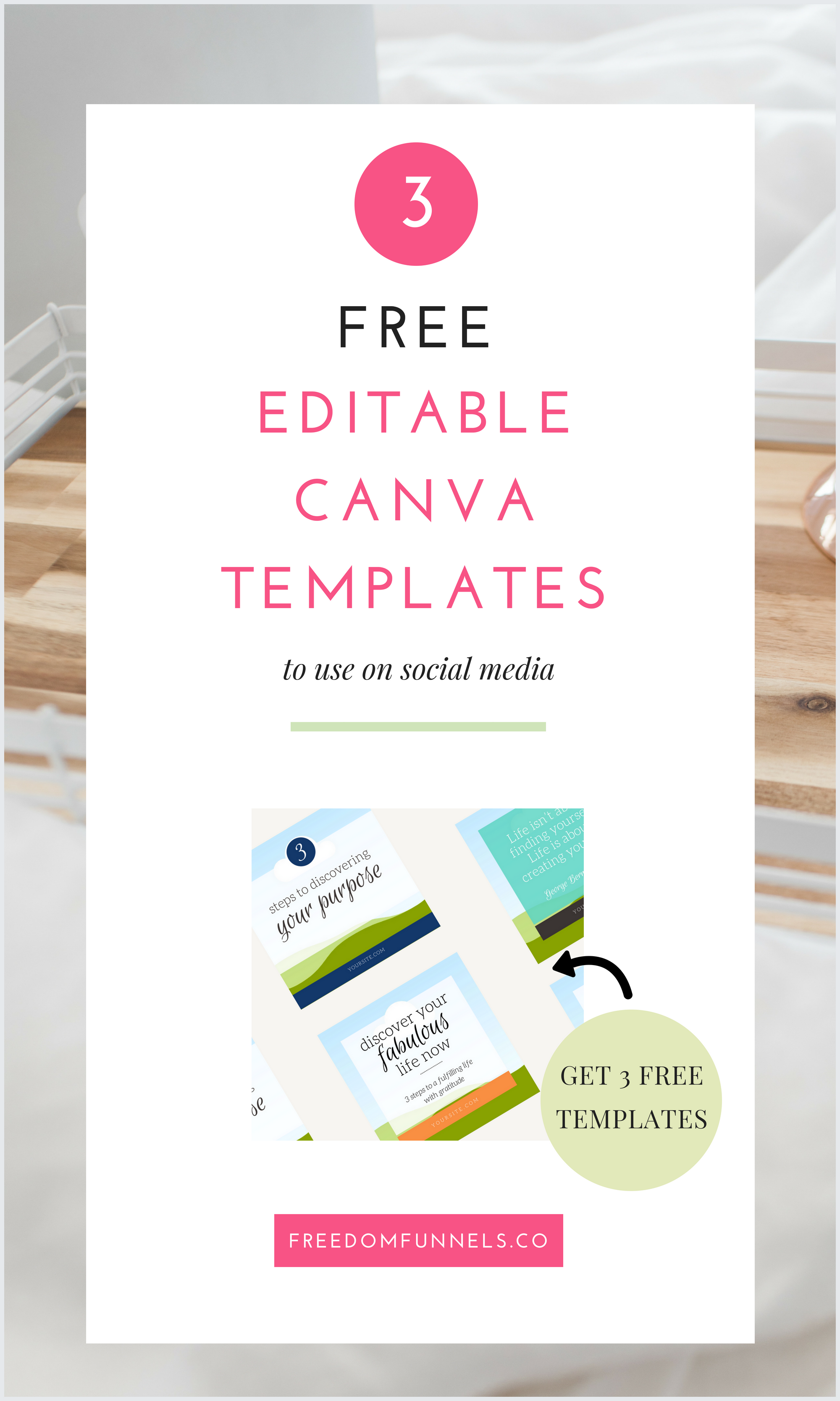 get 3 free social media graphic templates that are editable in canva