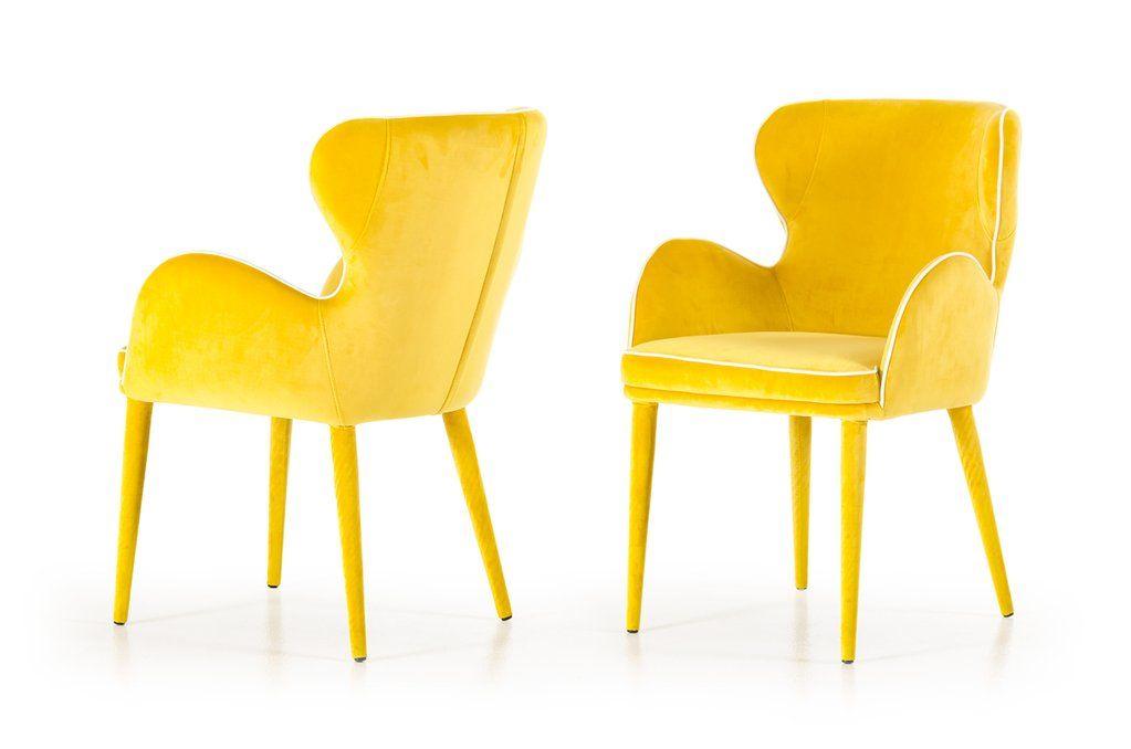 Vig Furniture Modrest Tigard Modern Fabric Dining Chair With Images Fabric Dining Chairs Modern Fabric Dining Chairs Yellow Dining Chairs
