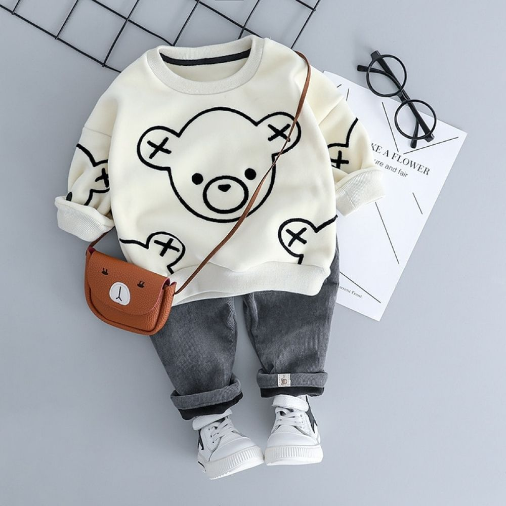 Photo of Autumn/Winter Baby Boy Outfit – Long Sleeve Velvet T-shirt +…