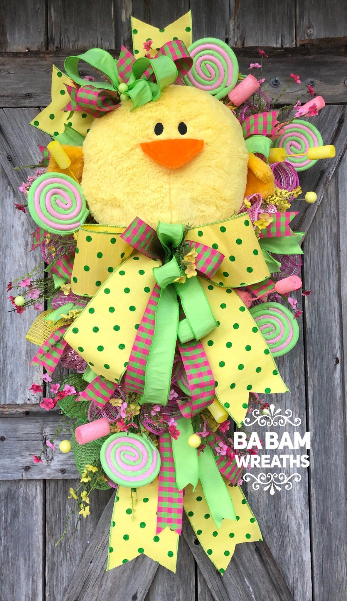 Photo of Chick Wreath, Easter Wreath, Spring Wreath, Easter Chick, Easter Mesh Wreath