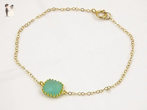 Simple Bracelet with Mint Green Square Crystal ( 14k Gold Plated ) – 14k Gold Fi…