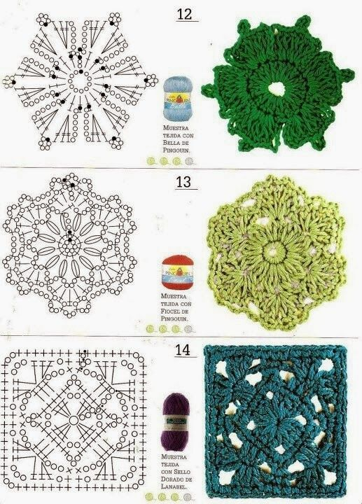 Granny squares #Crochet #Patron | amigurumis de flor africana ...