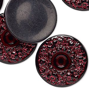 Cabochon, acrylic, opaque black and red, 28mm non-calibrated round with flower design. Sold per pkg of 6.