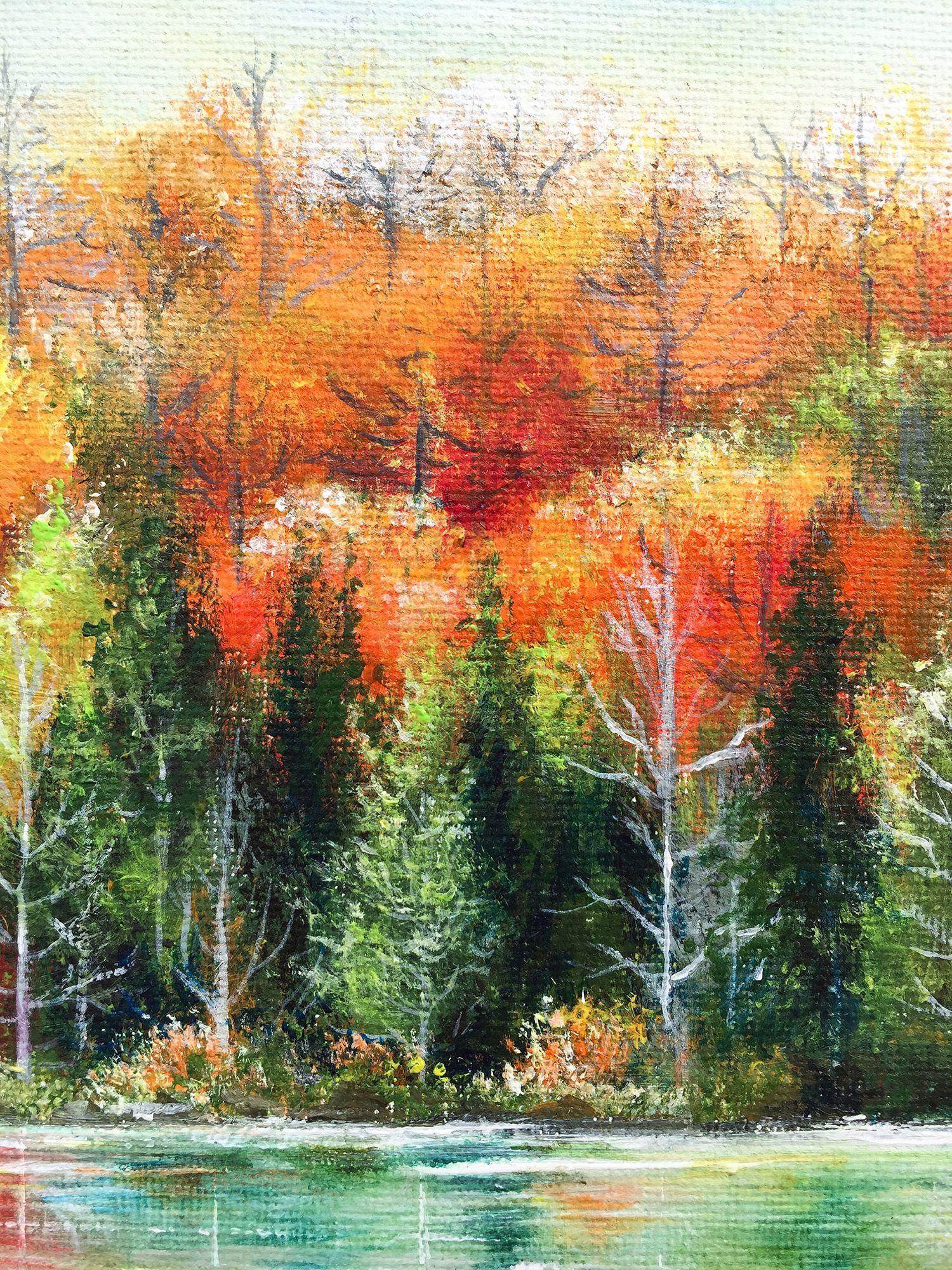Autumn Shades Original Acrylic Painting On Canvas Lakeside Fall Season Orange Forest Landscape Acrylic Painting Canvas Forest Landscape Landscape