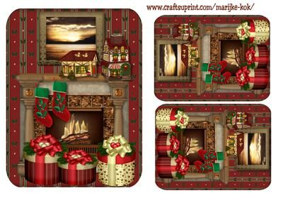 Male Christmas card Fireplace  on Craftsuprint designed by Marijke Kok - I think this is a nice male christmas card topper, in warm vintage color