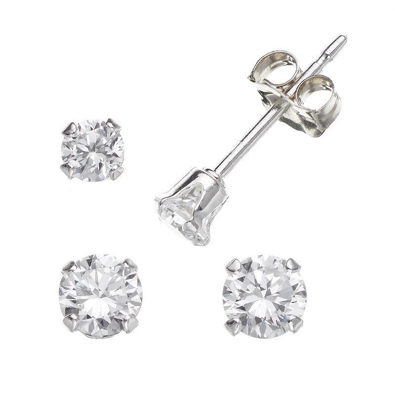 962bb1d29 Charming Girl Sterling Silver Cubic Zirconia Stud Earring Set - Made with Swarovski  Zirconia - Kids, White