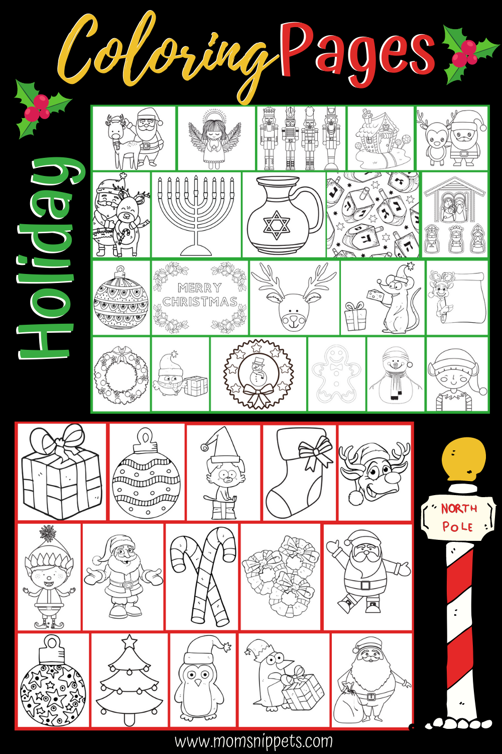 Christmas And Hanukkah Coloring Pages Printable Activities For Kids Craft Activities For Toddlers Advice For New Moms [ 1500 x 1000 Pixel ]