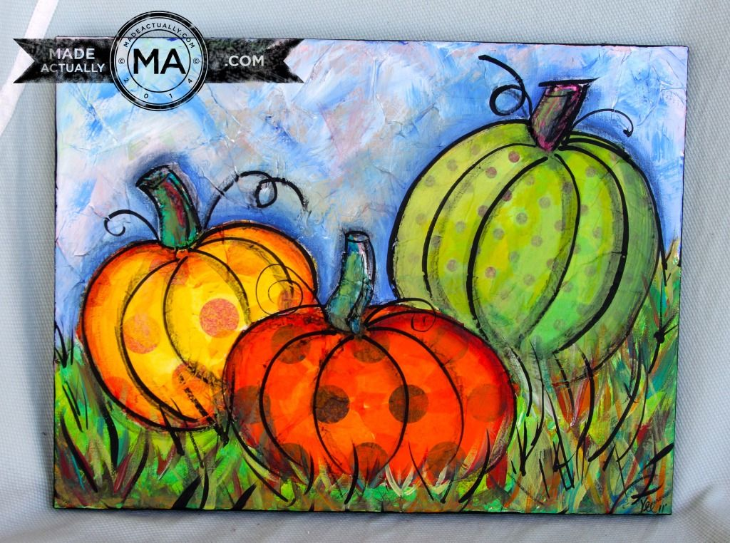 Pumpkin Painting With Tissue Paper Diy Canvas Painting
