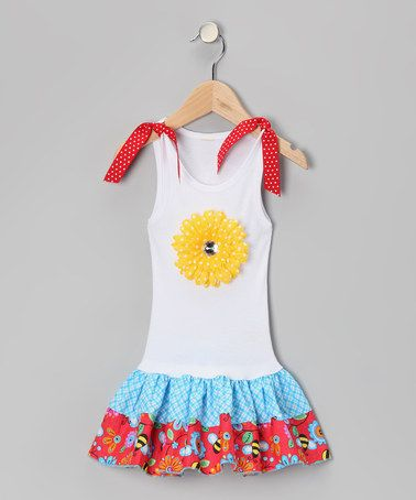 Take a look at this White & Blue Bees & Flowers Drop-Waist Dress - Toddler & Girls by Bubblegum Diva on #zulily today!