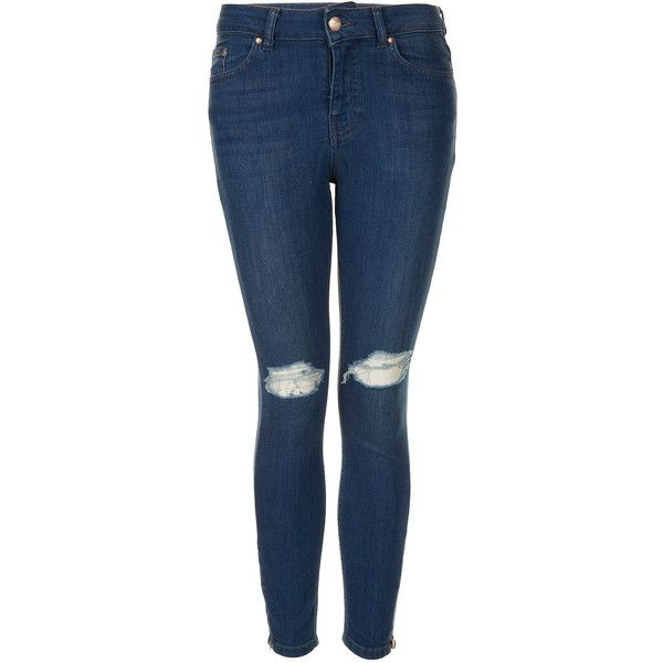TOPSHOP Petite MOTO Carey Ripped Jeans ($90) ❤ liked on Polyvore