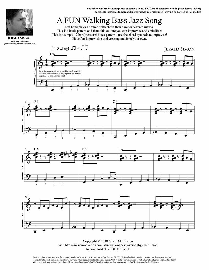 Motivate Piano Students With A Simple Walking Bass Jazz Left Hand