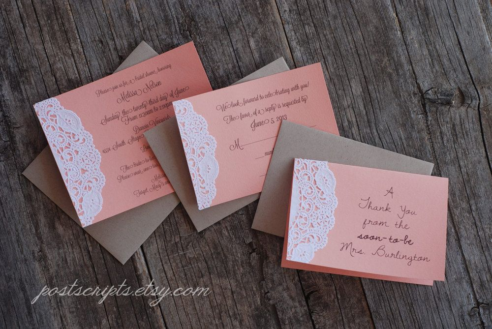Custom Coral and Lace Doily Invitations Shabby by postscripts ...