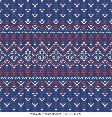 Christmas knitting seamless pattern in Blue, Red and White ...