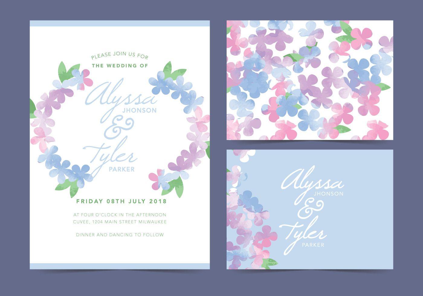 White Floral Vector Wedding Invite | Design Material | Pinterest ...